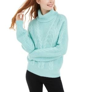 Dusty Eggshell Turtleneck Cable Knit